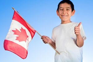 canadian flag smiling